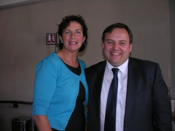 Deputy Pádraig Mac Lochlainn T.D.and Finola Brennan, Co ordinator- NCCWN- Donegal Women's Network taken after NCCWN briefing to members of the Oireachtas